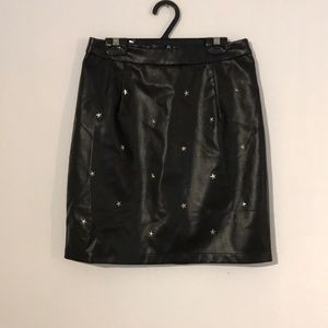 Boohoo faux leather star studded skirt
